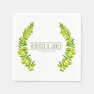VIBRANT GREEN WATERCOLOUR FERN FOLIAGE MONOGRAM PAPER NAPKINS
