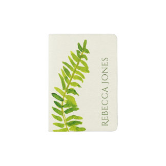 VIBRANT GREEN WATERCOLOUR FERN FOLIAGE MONOGRAM PASSPORT HOLDER