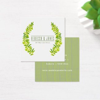 VIBRANT GREEN WATERCOLOUR FERN FOLIAGE Wedding Square Business Card