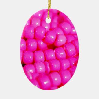 Vibrant Hot Pink Bead Print Ceramic Oval Ornament