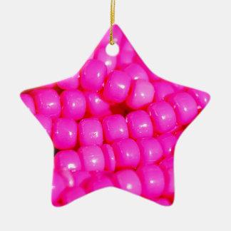 Vibrant Hot Pink Bead Print Ceramic Star Ornament