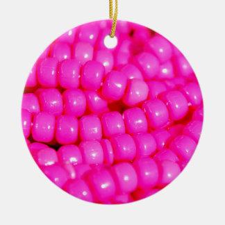 Vibrant Hot Pink Bead Print Round Ceramic Ornament