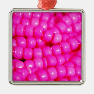 Vibrant Hot Pink Bead Print Silver-Colored Square Ornament