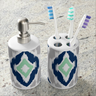 Vibrant Ikat Pattern Soap Dispenser And Toothbrush Holder