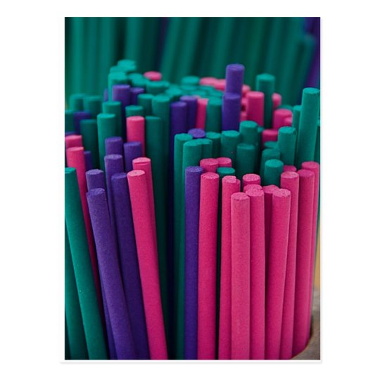 Vibrant Incense Sticks Postcard