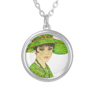 Vibrant Lady in Green Silver Plated Necklace