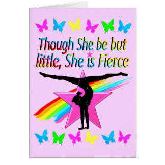 VIBRANT LITTLE BUT FIERCE GYMNASTICS DESIGN CARD