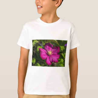 Vibrant Magenta Pink Clematis Blossom T-Shirt
