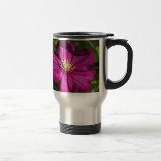 Vibrant Magenta Pink Clematis Blossom Travel Mug
