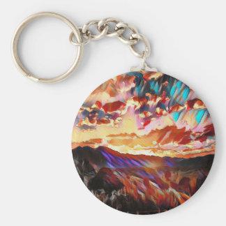 Vibrant Majestic Mountain Sunset Basic Round Button Keychain