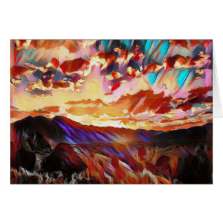 Vibrant Majestic Mountain Sunset Card