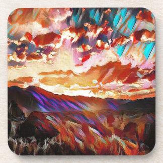 Vibrant Majestic Mountain Sunset Coaster