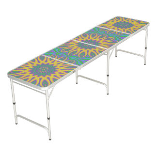 Vibrant Mandala Beer Pong Table