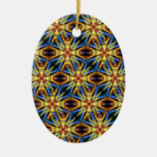 Vibrant Medieval Check Ceramic Oval Ornament