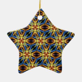 Vibrant Medieval Check Ceramic Star Ornament