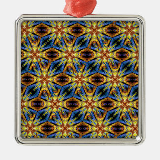 Vibrant Medieval Check Silver-Colored Square Ornament
