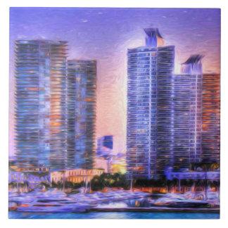 Vibrant Miami Skyline Sunrise Tile