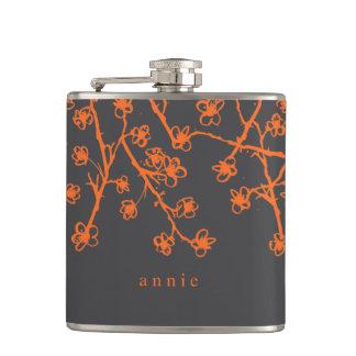 Vibrant, Modern Cherry Blossoms Hip Flask