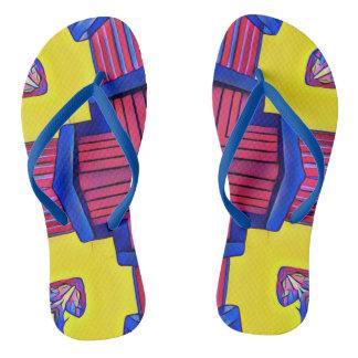 Vibrant Modern Symmetrical Pattern Flip Flops