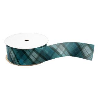 Vibrant & Modern Teal Plaid Pattern Grosgrain Ribbon