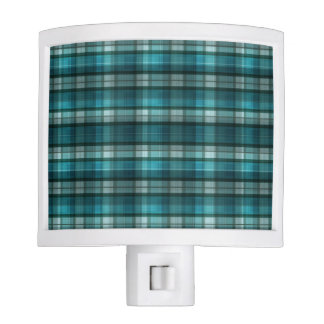 Vibrant & Modern Teal Plaid Pattern Night Light
