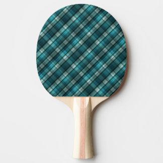 Vibrant & Modern Teal Plaid Pattern Ping Pong Paddle