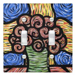 Vibrant Modern Vase Of Flowers Light Switch Cover