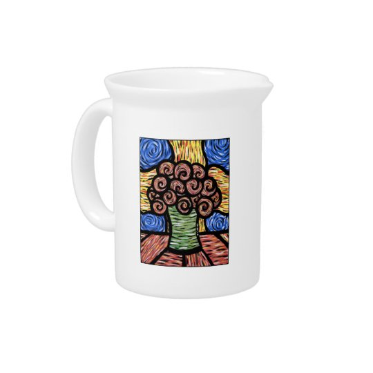 Vibrant Modern Vase Of Flowers Pitcher