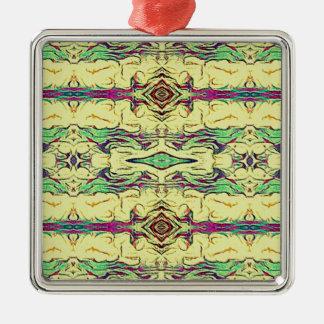 Vibrant Multi Colored Artistic Pattern Metal Ornament