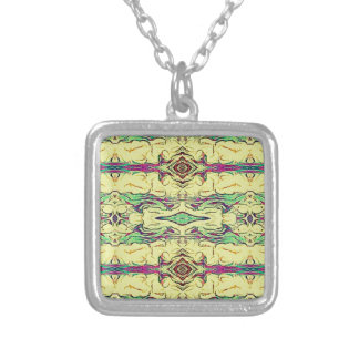 Vibrant Multi Colored Artistic Pattern Silver Plated Necklace