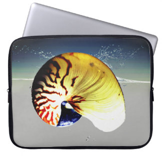 Vibrant nautilus seashell on a splash of ocean laptop sleeve