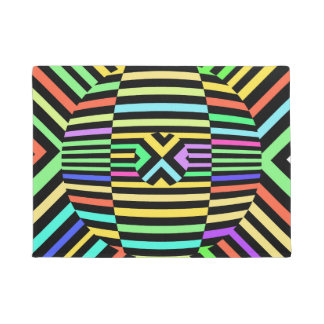 Vibrant neon abstract design doormat