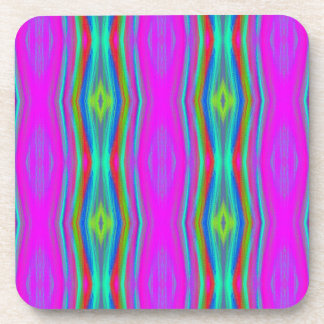 Vibrant Neon Girly Pink Teal Cool Pattern Beverage Coaster