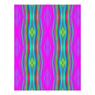 Vibrant Neon Girly Pink Teal Cool Pattern Letterhead