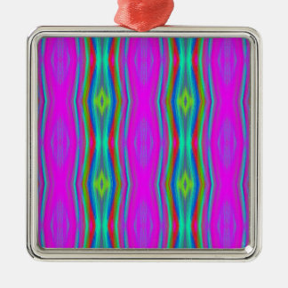 Vibrant Neon Girly Pink Teal Cool Pattern Silver-Colored Square Ornament