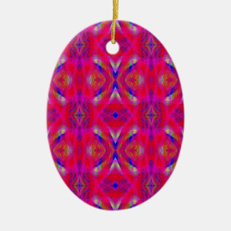 Vibrant Neon Hot Pink Chic Pattern Ceramic Oval Ornament