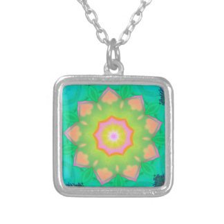 Vibrant Neon Pastel Mandela Pattern Silver Plated Necklace