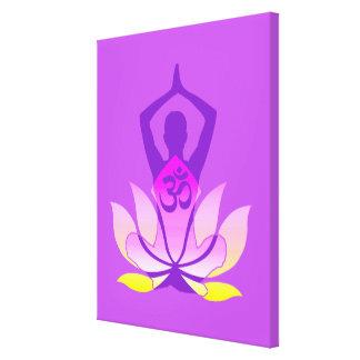 Vibrant OM Namaste Spiritual Lotus Flower Yoga Gallery Wrap Canvas