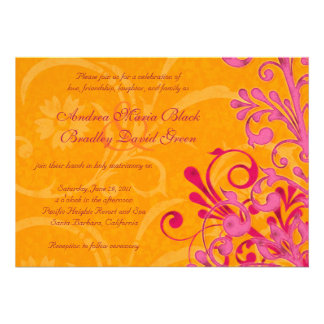 Vibrant Orange and Pink Floral Wedding Invitation