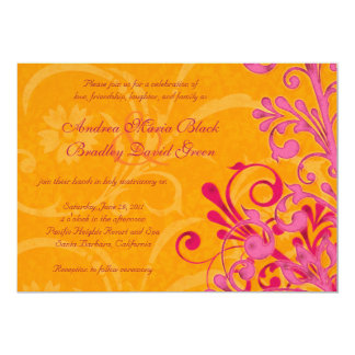 Vibrant Orange and Pink Floral Wedding Invitation