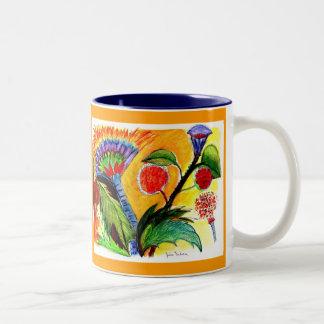 vibrant orange blue flower mug