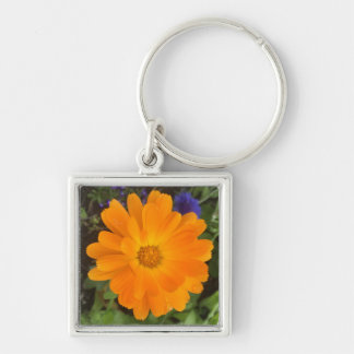 Vibrant Orange Dahlia Flower Keychain