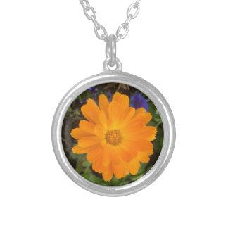 Vibrant Orange Dahlia Flower Pendant