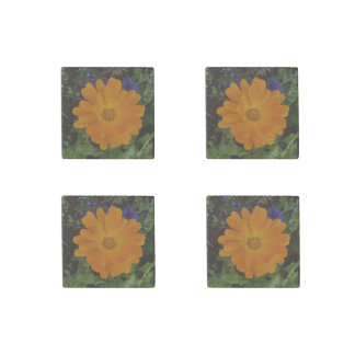 Vibrant Orange Dahlia Flower Stone Magnets