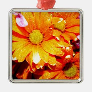 Vibrant Orange Fiore Silver-Colored Square Ornament