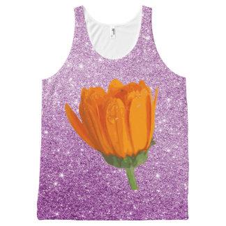 Vibrant Orange Flower Purple Faux Glitter All-Over-Print Tank Top