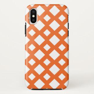Vibrant Orange Lattice on White iPhone X Case