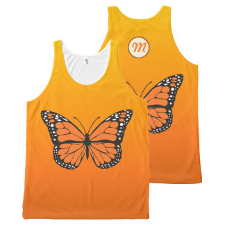 Vibrant Orange Ombre Monarch Butterfly Monogram All-Over-Print Tank Top