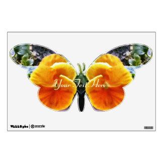 Vibrant Orange Pansies Botanical Natural Wall Decal