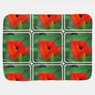 Vibrant Orange Poppy Baby Blanket